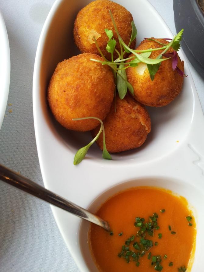Crispy Serrano ham Croquettes, thyme and tomato sauce