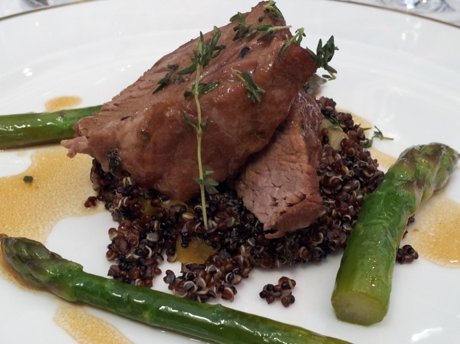 Gauthier dining experience 2 - Slow cooked middle neck of lamb, red quinoa, asparagus and apricot, thyme infused lamb jus