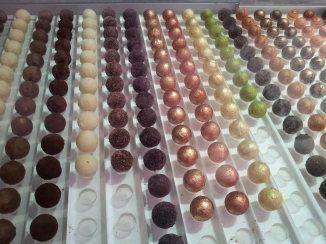Decorated chocolate truffles at Vioko