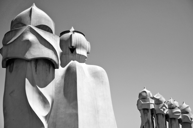 Chimneys on the La Pedrera roof top